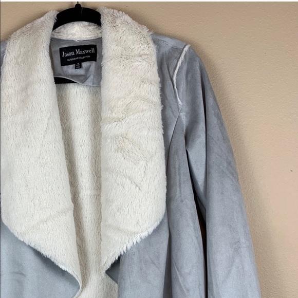 jason maxwell Jackets & Blazers - • Jason Maxwell • Faux Fur & Suede Drape Jacket